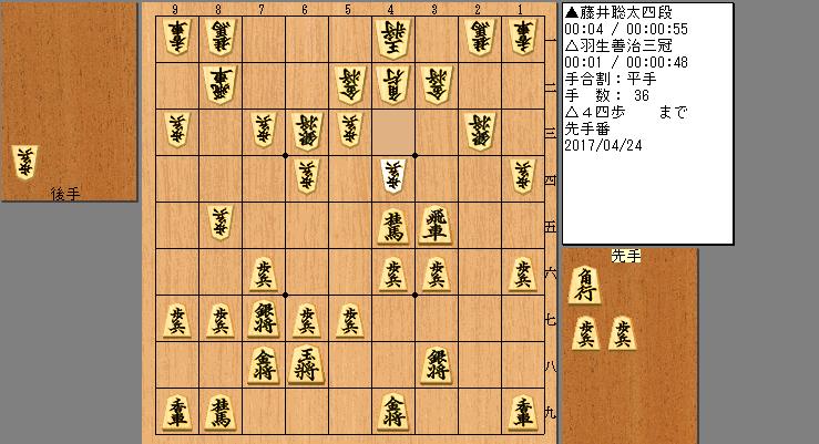 藤井四段vs羽生三冠