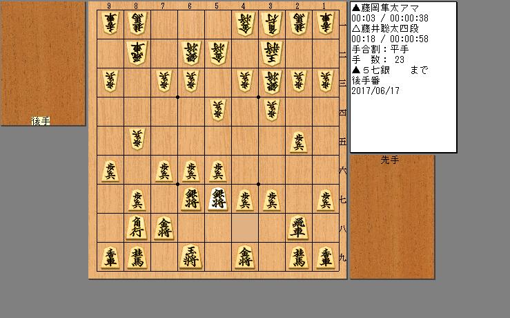 藤井聡太四段vs藤岡隼太アマ