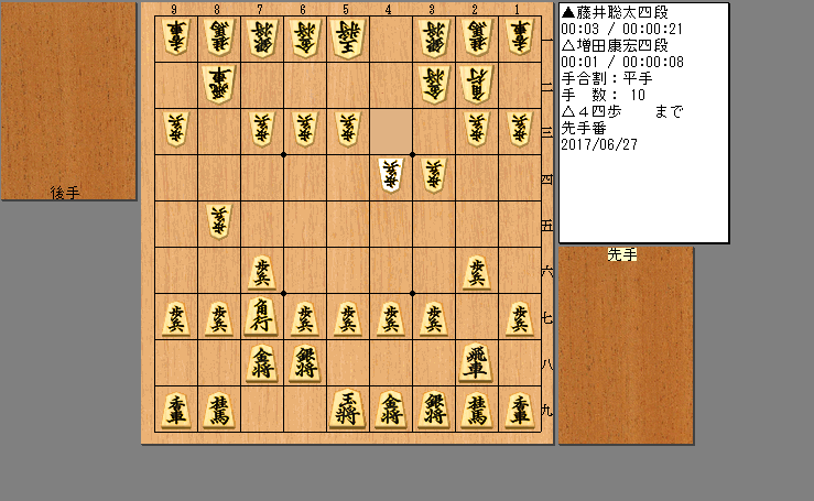 藤井四段vs増田四段