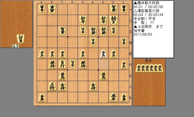 藤井四段vs澤田六段