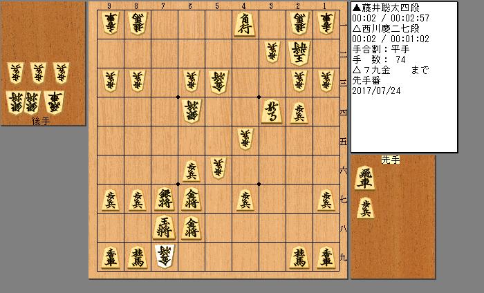藤井四段vs西川七段