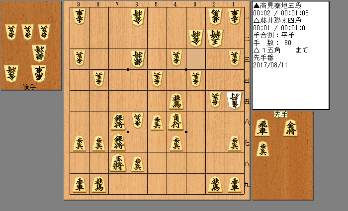 高見五段vs藤井四段