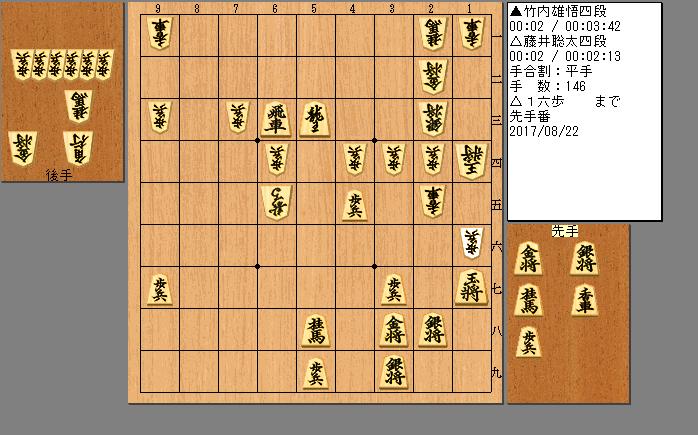 藤井四段vs竹内四段