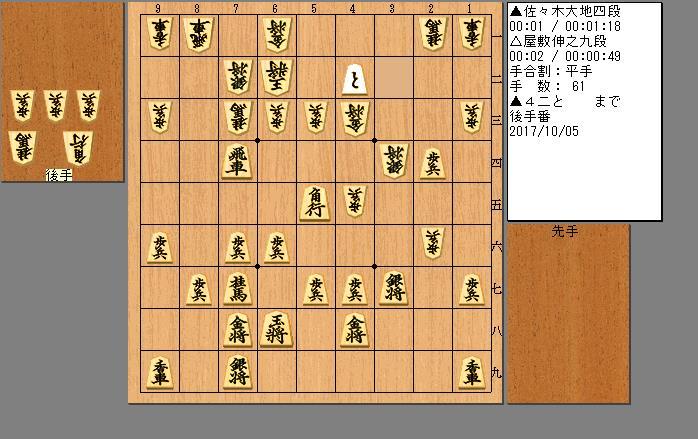 佐々木四段vs屋敷九段