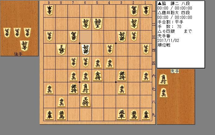 藤井四段vs脇八段