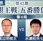 渡辺明棋王vs永瀬拓矢七段の成績とレーティング!棋王戦 第4局の日程と中継