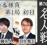 名人戦第1局 羽生善治二冠vs佐藤天彦名人の棋譜と結果!横歩取り