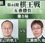 第44期棋王戦第3局 広瀬章人竜王vs渡辺明棋王の棋譜速報