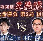 王位戦第2局 豊島将之王位vs木村一基九段の中継と日程