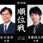 順位戦B級1組 谷川浩司九段vs斎藤慎太郎七段の対局速報