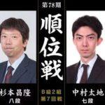 杉本昌隆八段vs中村太地七段 順位戦B級2組の対局速報!中継と日程