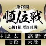 順位戦C級1組第9回戦 藤井聡太七段vs高野秀行六段の対局速報!中継と日程