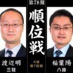 順位戦A級第7回戦 渡辺明三冠vs稲葉陽八段の対局速報!中継と日程