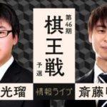 第46期棋王戦予選 阿部光瑠六段vs斎藤明日斗四段の対局速報