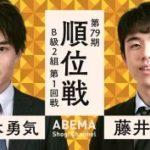 順位戦B級2組第1回戦 藤井聡太七段vs佐々木勇気七段の対局速報